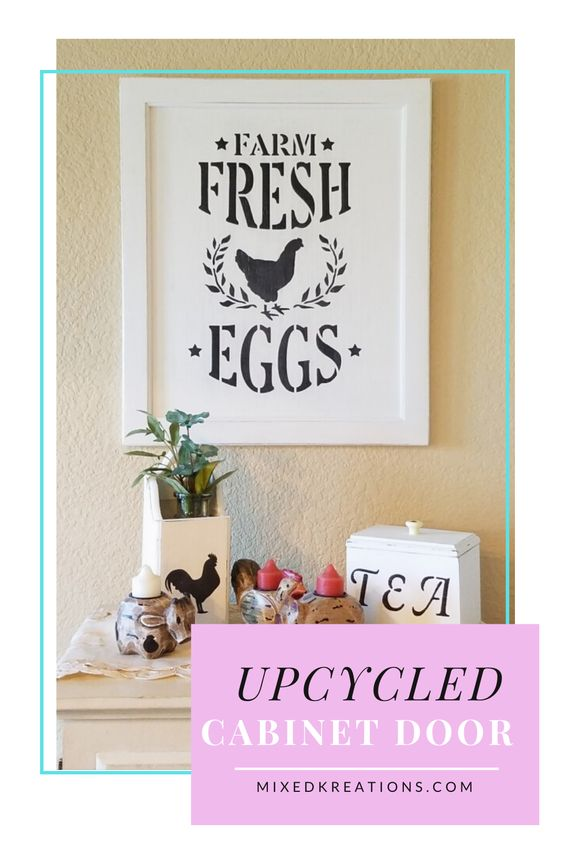 how to make a farm fresh eggs sign from a cabinet door