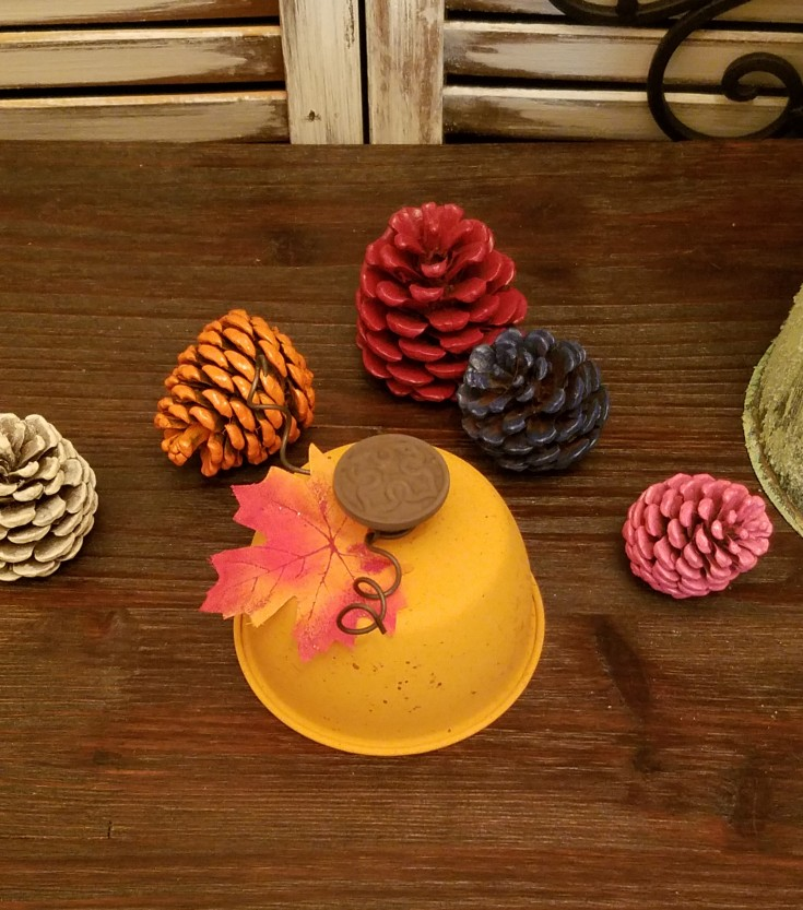 Thrift Store Upcycled Mini Pumpkin - Fall Decor | How to upcycle a tin into a mini fall pumpkin | Repurposed fall decor #Repurposed #upcycled #fallcraft #holiday #pumpkin #ThriftStoreMakeover MixedKreations.com