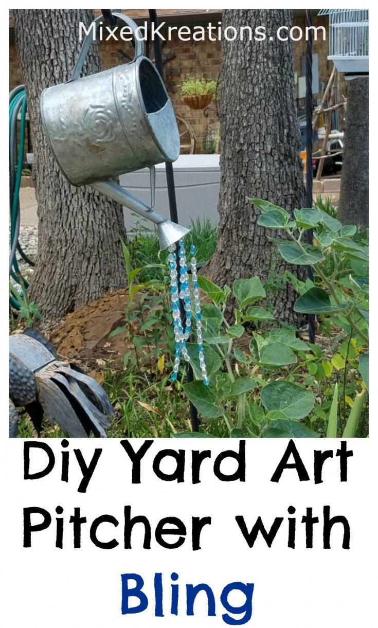 Diy yard art pitcher with bling | how to upcycle a garden pitcher into yard art #repurposed #upcycled #diy #yardart MixedKreations.com