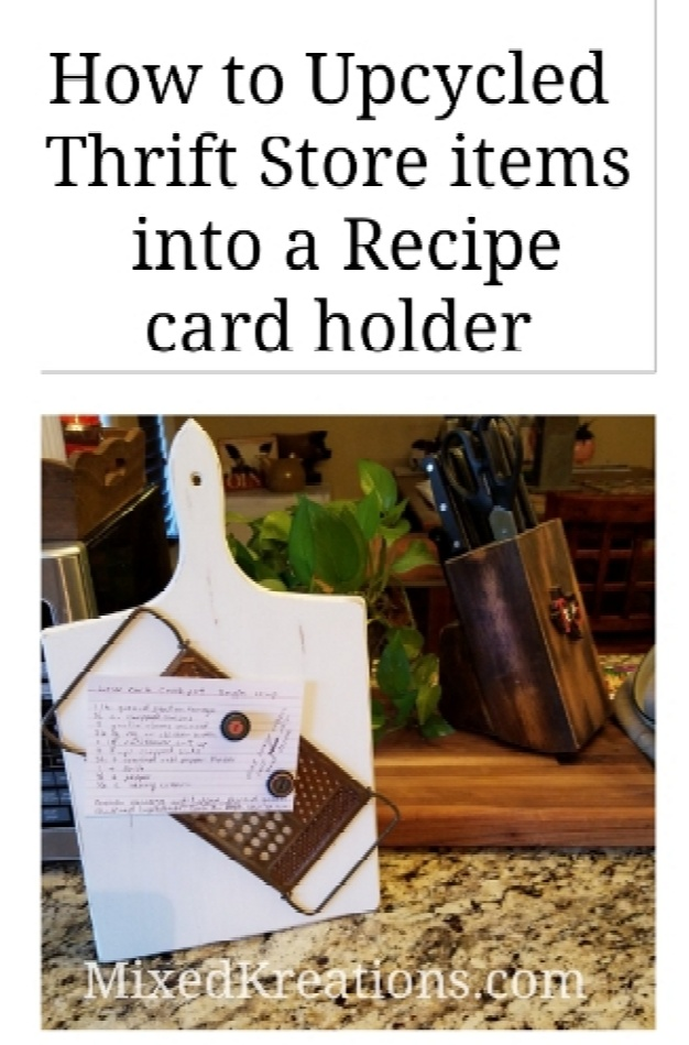 Repurposed cutting board and grater, how to upcycle two thrift store items into a, photo display, recipe holder, diy, Mixedkreations.com