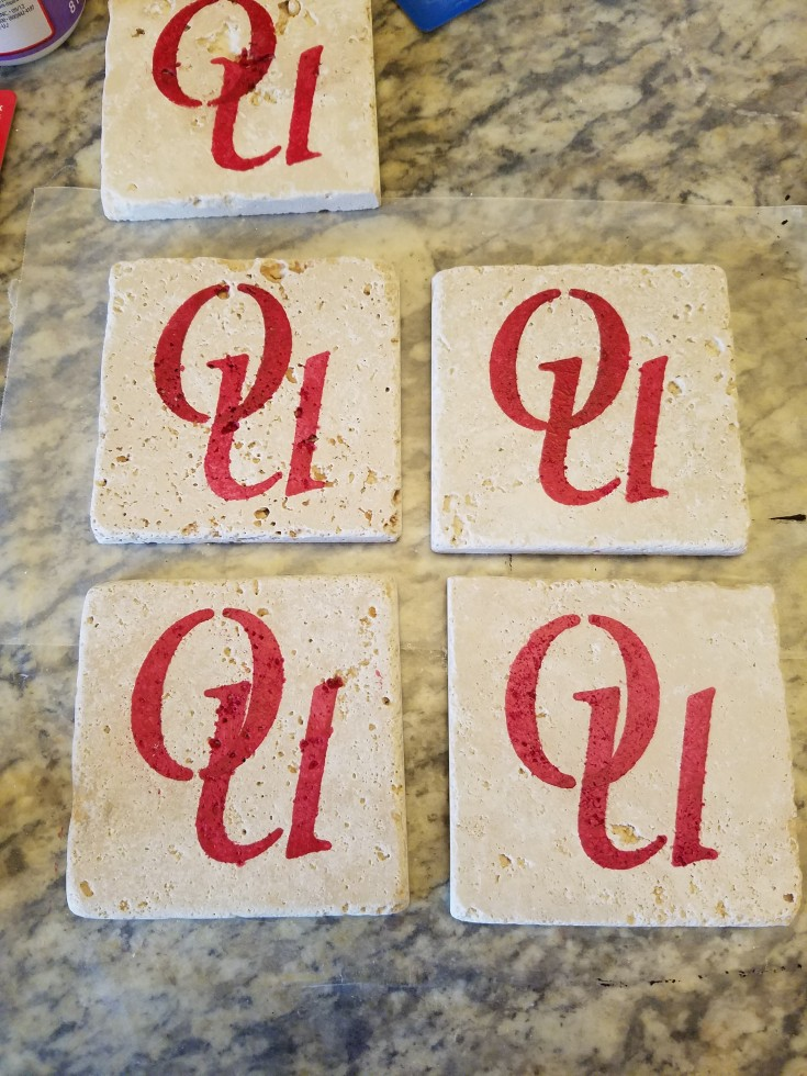 Diy Gift Idea for the Sports Fanatic, how to make sports fan coasters, Homemade tile coasters for sports fans #CustomizedCoasters #DiyTravertineTileCoasters #HomemadeGiftIdea #HomemadeGiftsForSportsFans MixedKreations.com