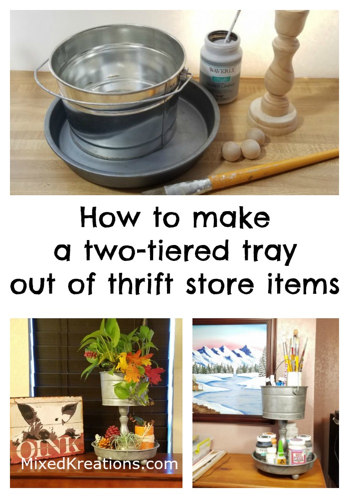 Diy two tier tray for storage,How to make a two tier faux galvanized tray out of two thrift store items, repurposed,  upcycled,  farmhouse style,  organizer, diy Mixedkreations.com