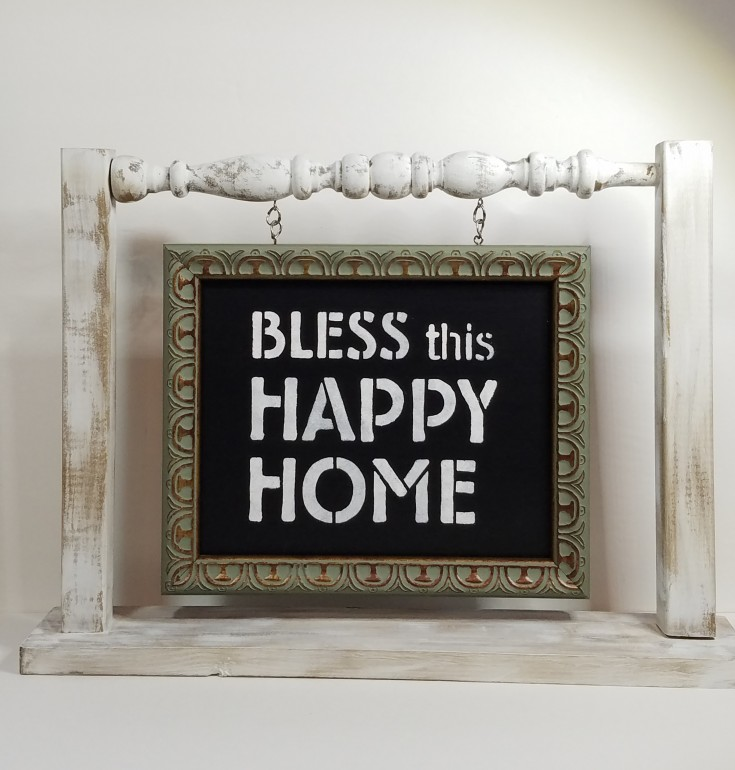 Bless this Happy Home, Diy home decor, Upcycled Wood Frame and Wooden Spindle into Home Decor, MixedKreations.com
