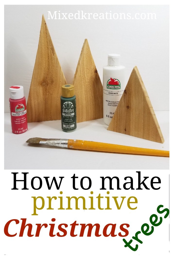 Diy primitive wooden Christmas trees, How to make rustic Christmas trees, easy diy wooden Christmas trees MixedKreations.com