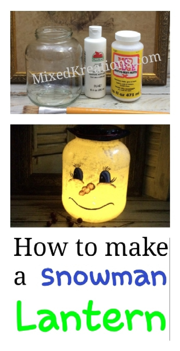 diy snowman lantern, how to make a snowman luminaries, repurposed jars, upcycled holiday jar, diy christmas decor, MixedKreations.com