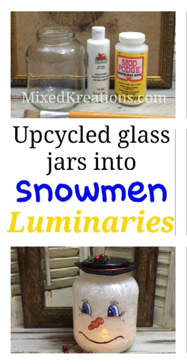 how to make Christmas decor by repurposing empty glass jars, diy snowman lantern, how to make a snowman luminaries, repurposed jars, upcycled holiday jar, MixedKreations.com