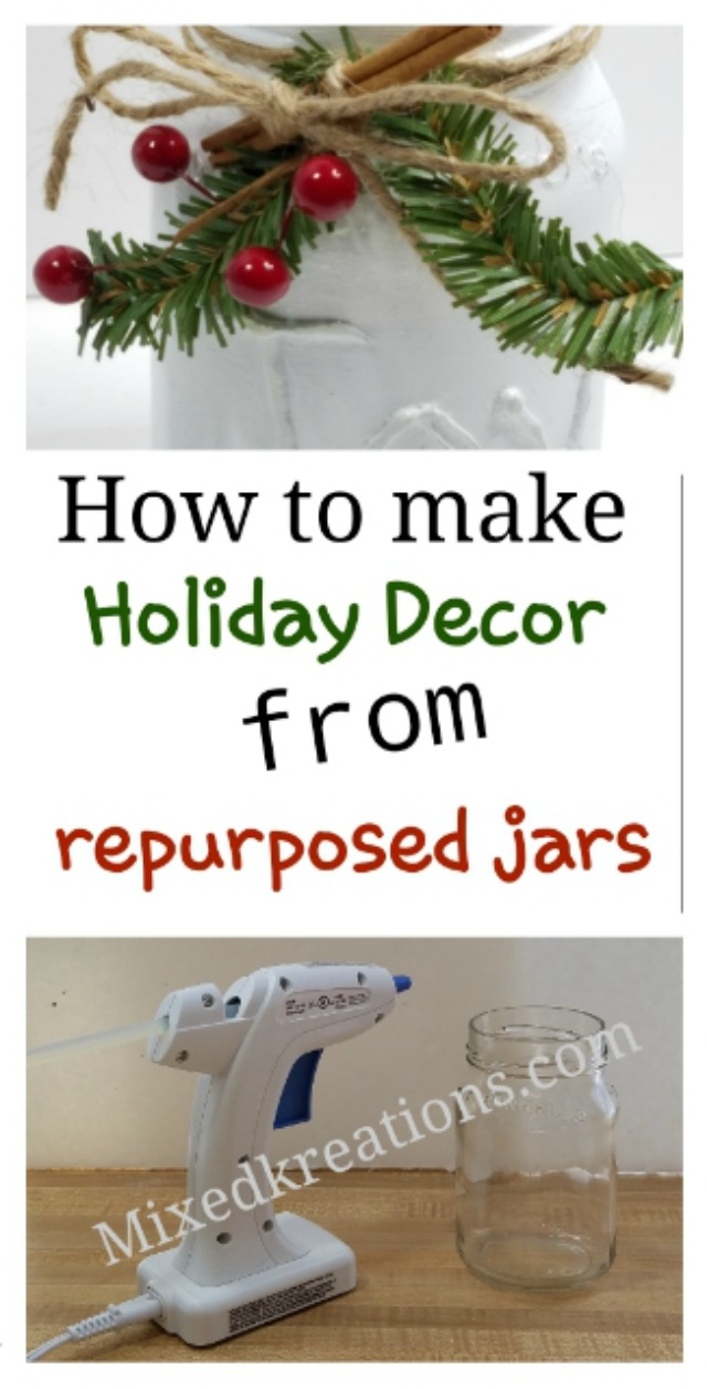joy holiday decor jar, how to make holiday decor from repurposed jars, MixedKreations.com