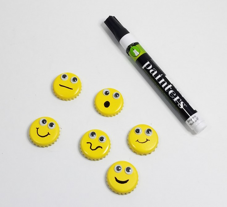 Easy bottle cap emoji magnets, how to upcycle bottle caps into emoji magnets, diy emoji magnets,