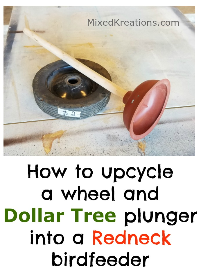 How to Make a Redneck Bird Feeder out of a wheel and a toilet plunger / diy redneck birdfeeder / MixedKreations.com