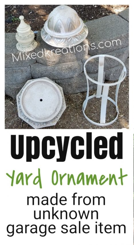 unknown garage sale item to upcycled yard ornament