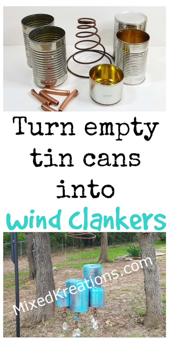how to turn empty tin cans into wind clankers for the yard