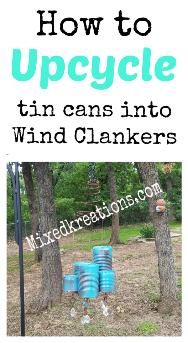 how to turn empty tin cans into wind chimes for the yard