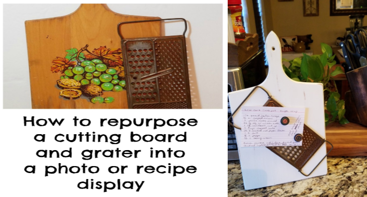 repurposed cutting board and grater into photo or recipe holder easy upcycles