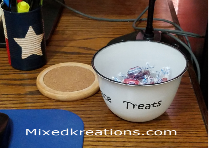 Goodwill dish upcycled into a faux enamel candy dish