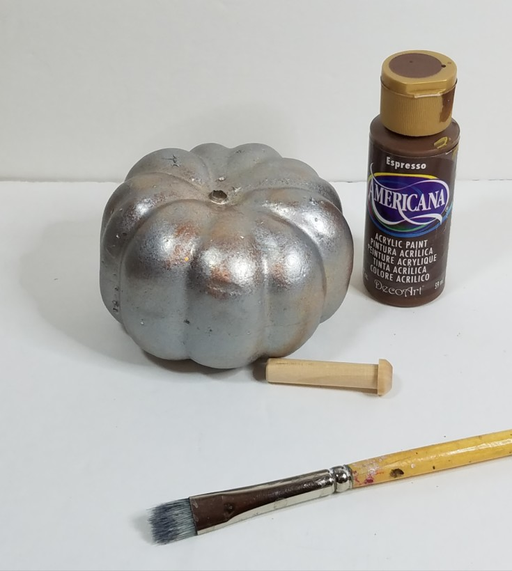 How to upcycle a Dollar Store pumpkin into a faux mercury glass pumpkin