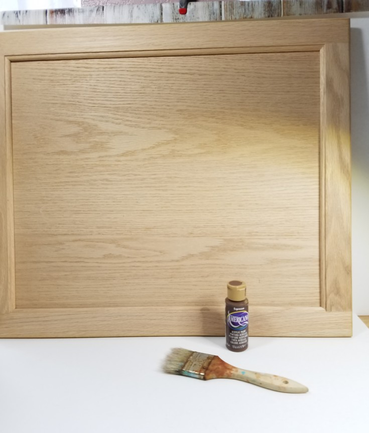 repurposing a cabinet door into a tray