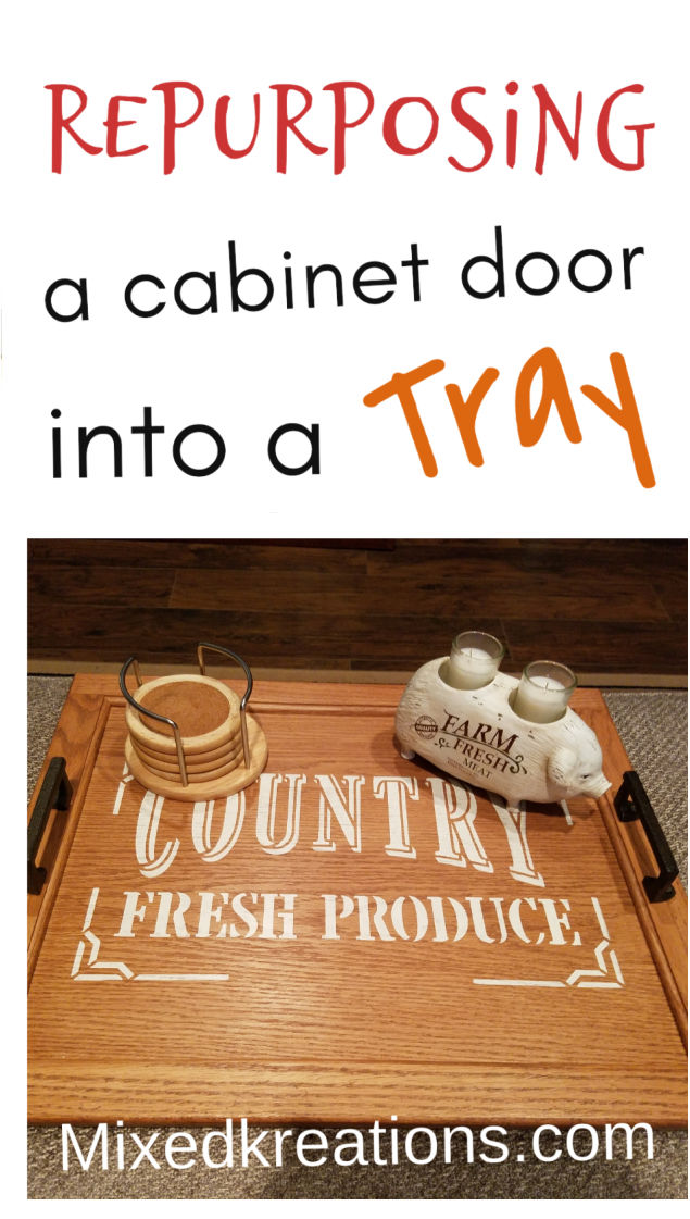 repurposing a cabinet door into a tray , Diy ottoman tray, how to make a tray with a cabinet door, MixedKreations.com #DiyTray #RepurposedCabinetDoor #DiyOttomanTray