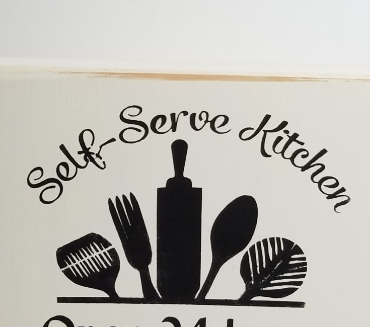 Stenciled Self-Sever Kitchen Sign