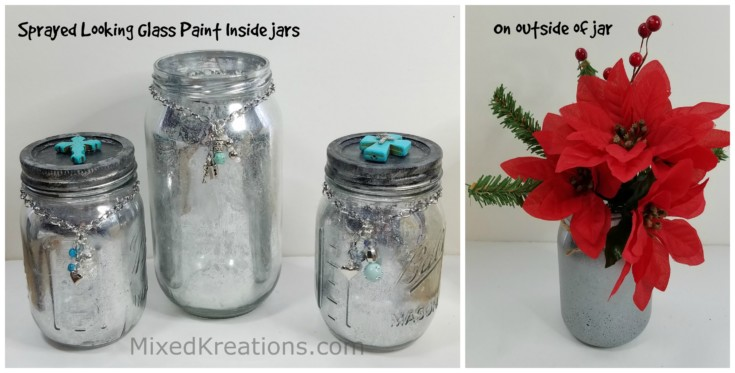How to make a faux mercury glass jar, diy mercury glass jars, upcycle a glass jar with looking glass spray paint, diy mercury glass home decor
