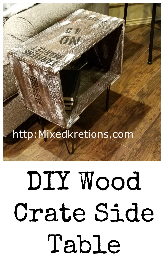 How to make a diy wood crate side table