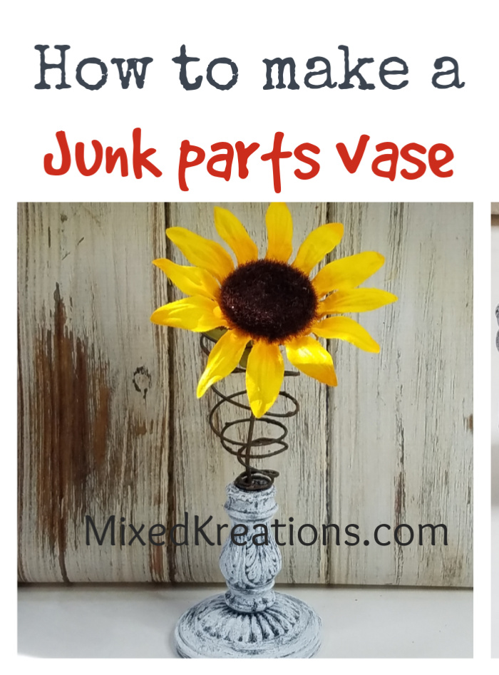 How to make a junk parts vase out of a faux bedspring and light fixture parts