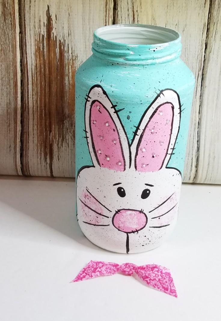 diy painted easter bunny jar