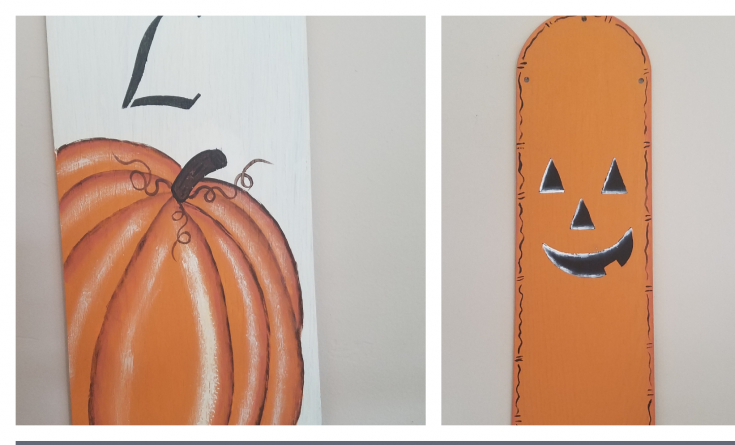 Two sided Halloween and Thanksgiving decoration