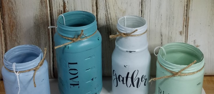 Upcycled stenciled jars