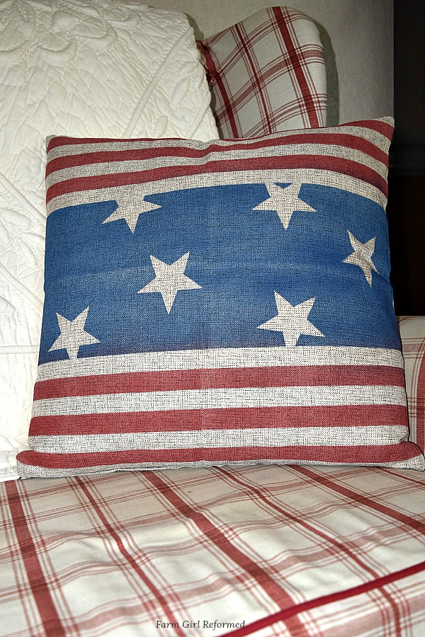 how to make a patriotic pillow cover