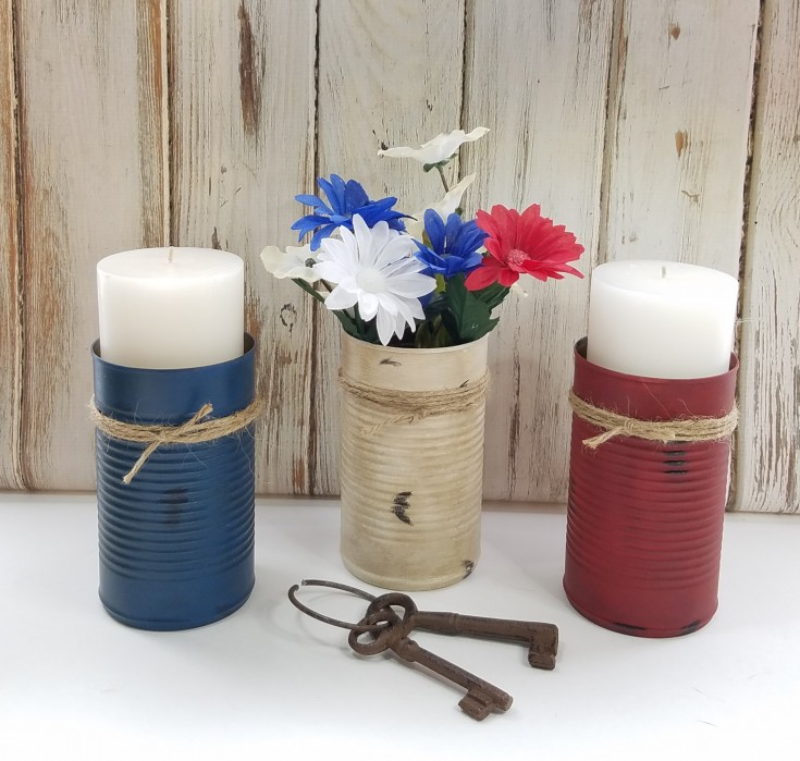 red, white, and blue upcycled cans