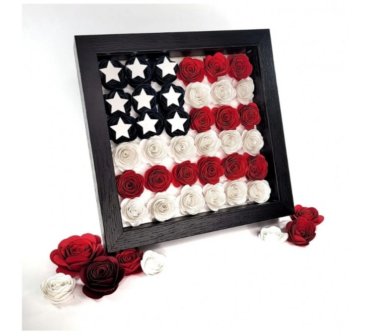 HOW TO MAKE A PAPER FLOWER SHADOW BOX WITH A AMERICAN FLAG DESIGN