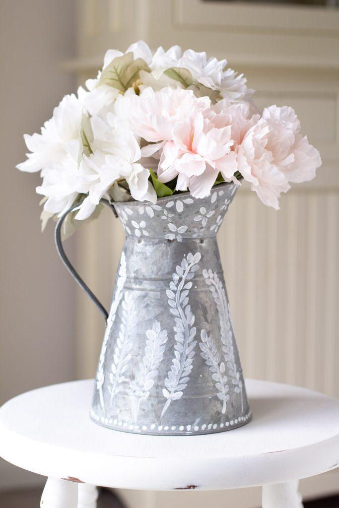 diy galvanized floral pitcher